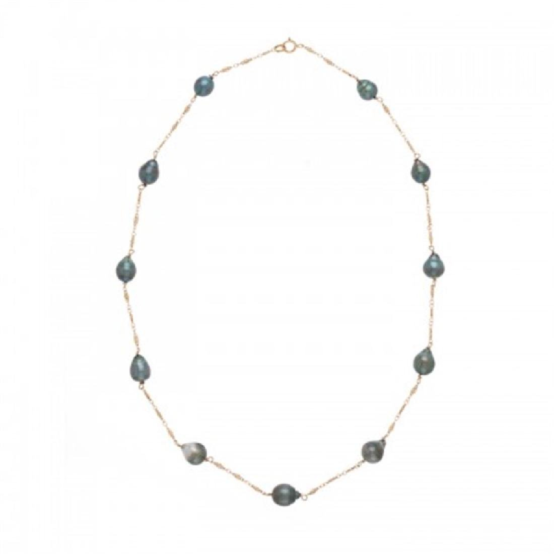 7.5-9.0mm Tahitian Black Tin Cup Pearl Necklace