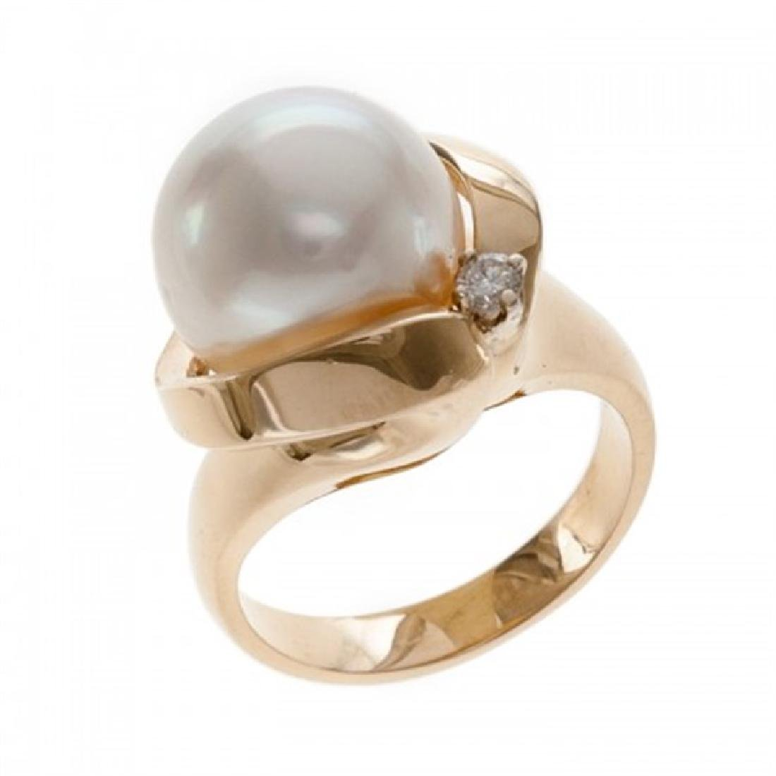 12.0-12.5mm South Sea Pearl Ring with Diamond