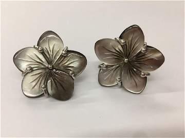 Black Shell Earring Silver 4.0g