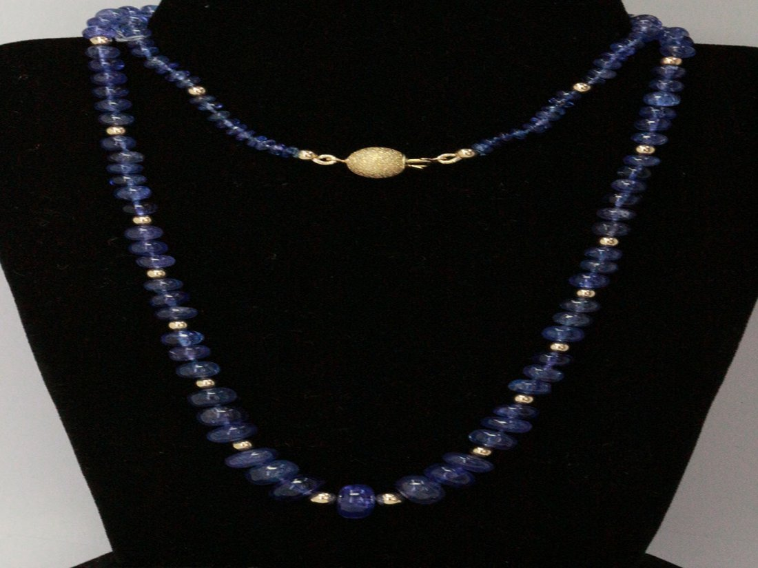 Natural Tanzanite Bead w/ Gold Necklace