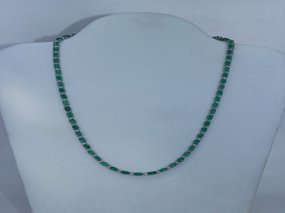 Natural Emerald w/ Diamond Necklace 14kt White Gold