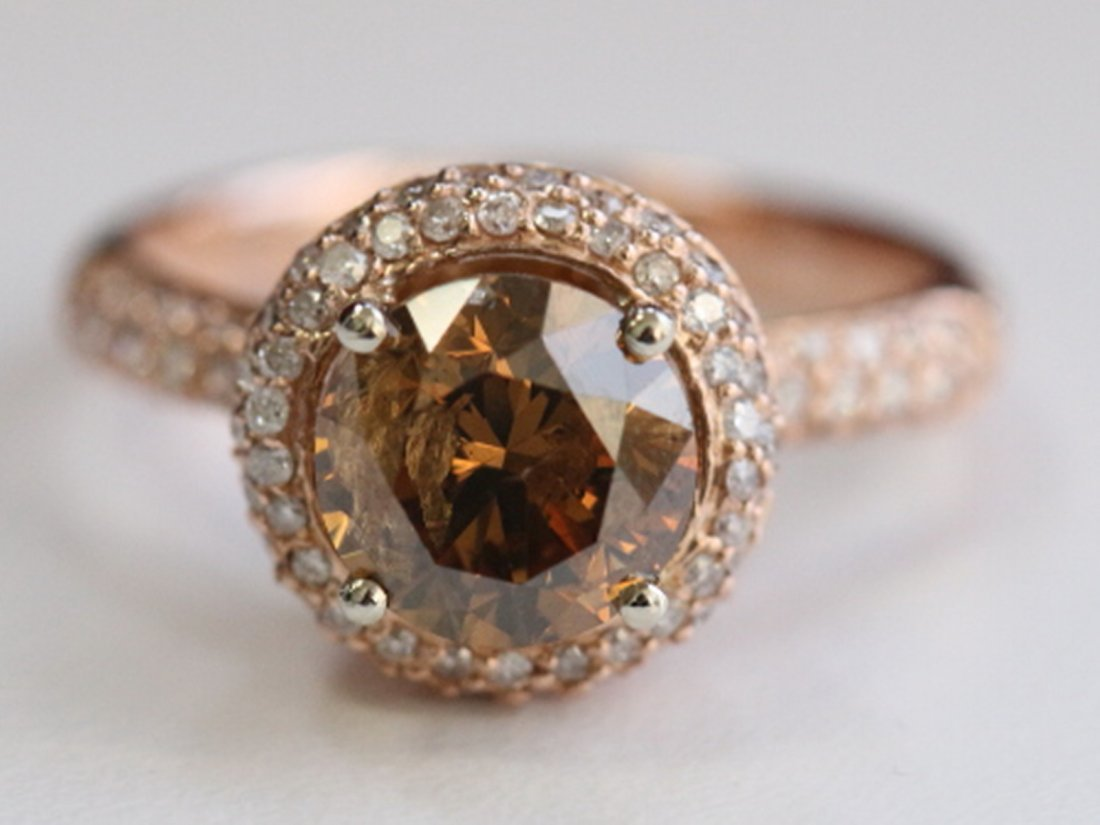Natural Champagne Diamond w/ Diamond Ring