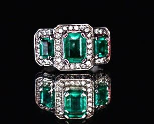 Natural Emerald 2.13cttw w/ Diamond Ring