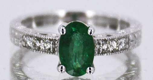 Natural Emerald .90ct w/ Diamond Ring