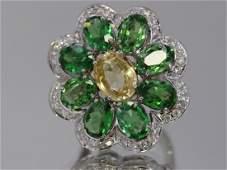 Natural Yellow Sapphire, Tsavorite w/ Dia Flower Ring