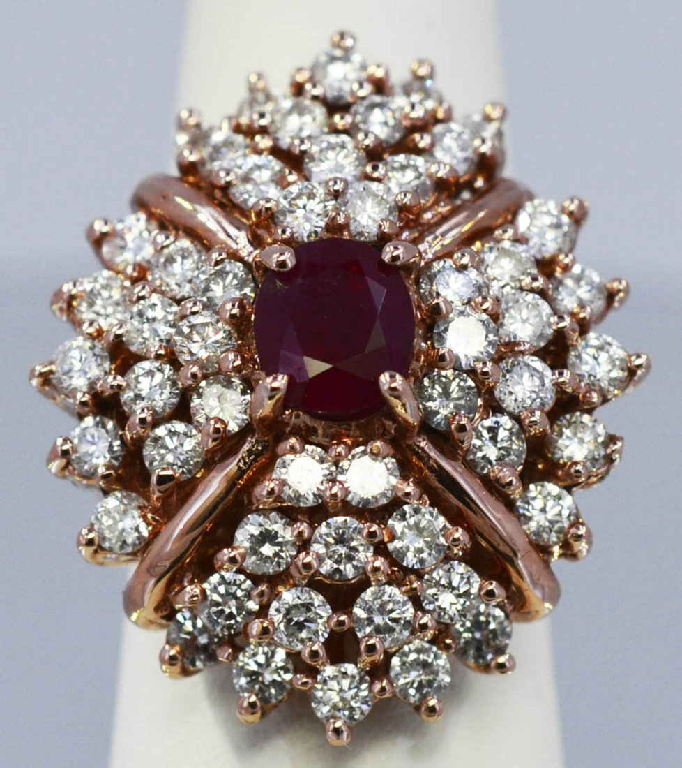 Natural Ruby 1.79ct w/ 3.28cttw Diamond Cluster Ring