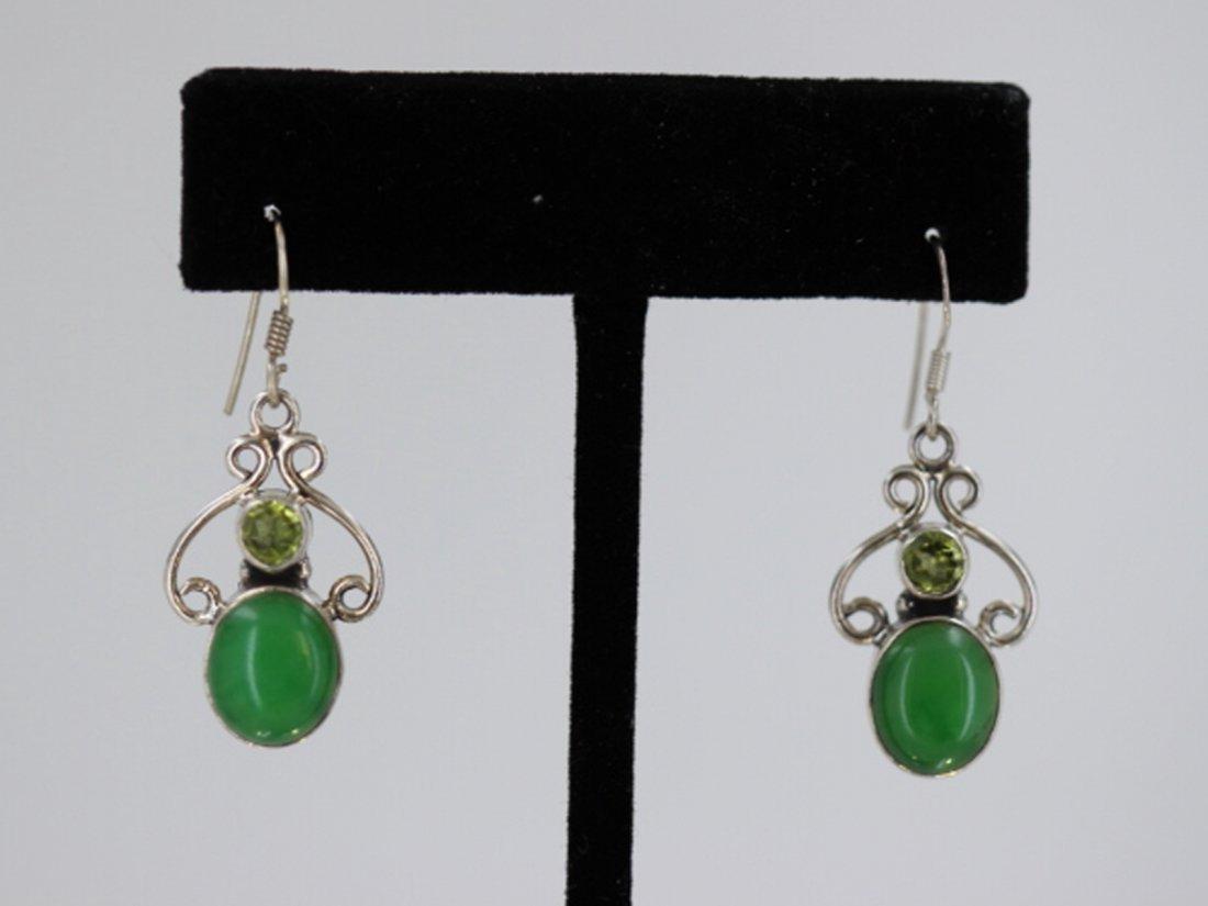 Sterling Silver .925 Vintage Peridot Earrings