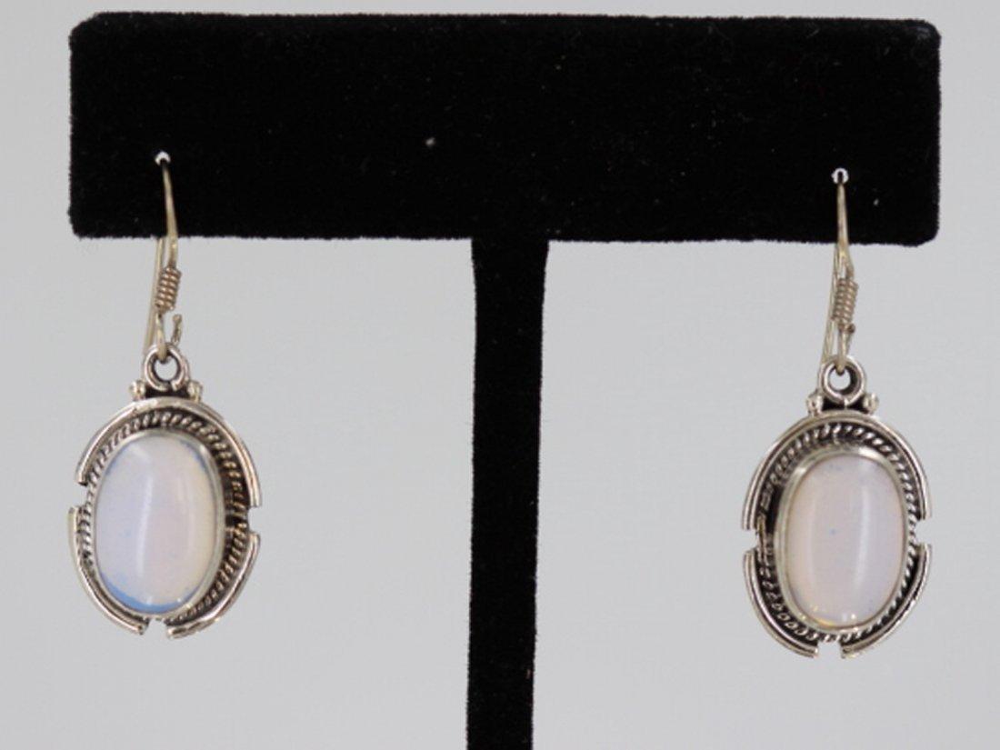 Sterling Silver .925 Vintage Moon Stone Earrings
