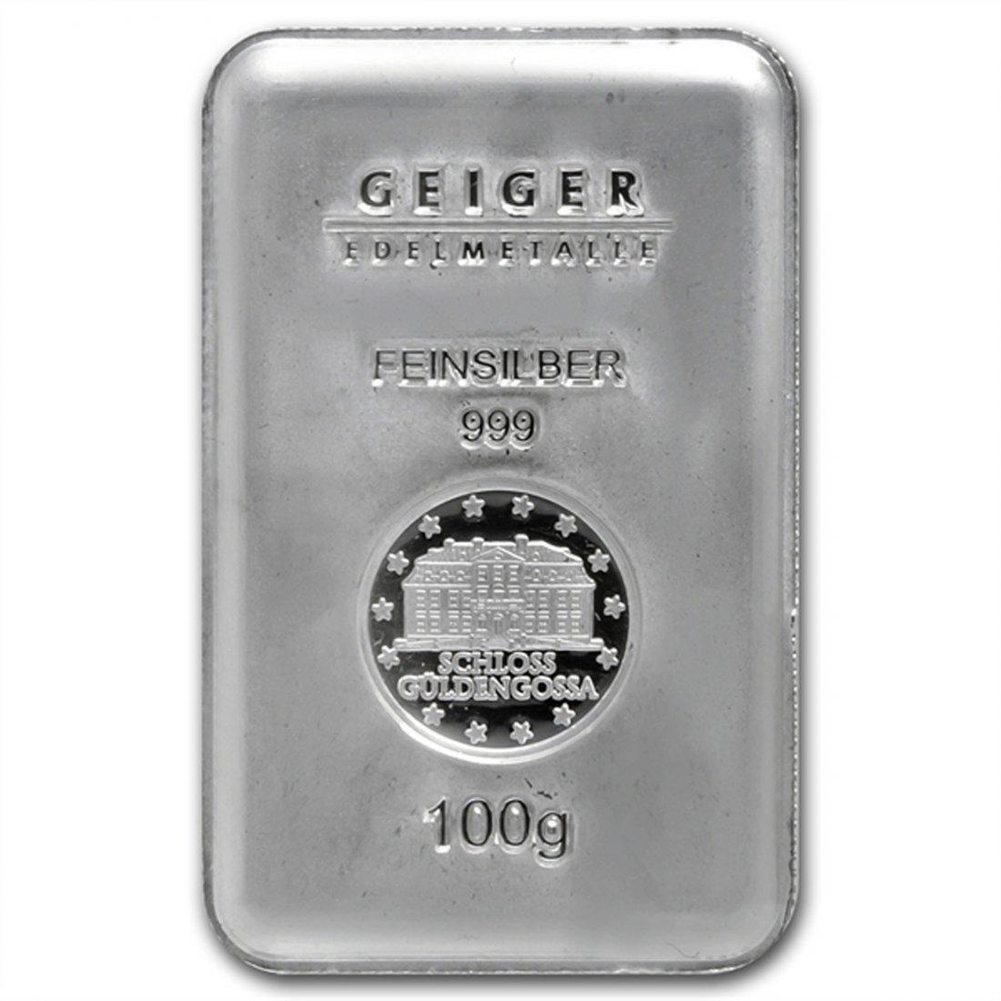 100 gram Geiger 'Security Line' Silver Bar .999 Fine