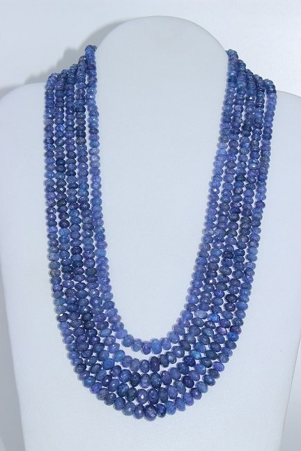 Natural Tanzanite 5 Row Beaded Necklace