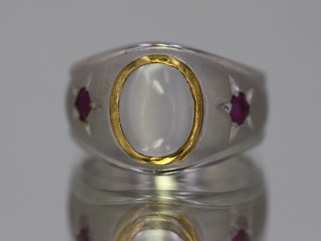 Sterling Silver .925 Moon Stone/Ruby Ring