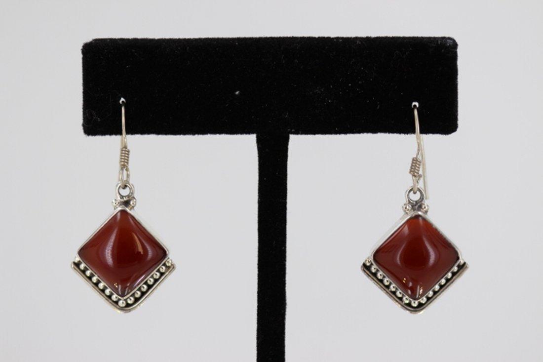 Sterling Silver .925 Vintage Carnelian Earring