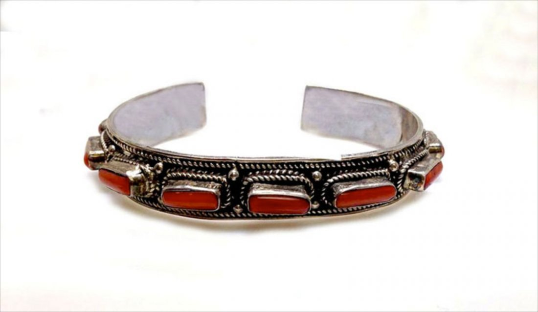 Sterling Silver .925 Red Coral Cuff Bangle