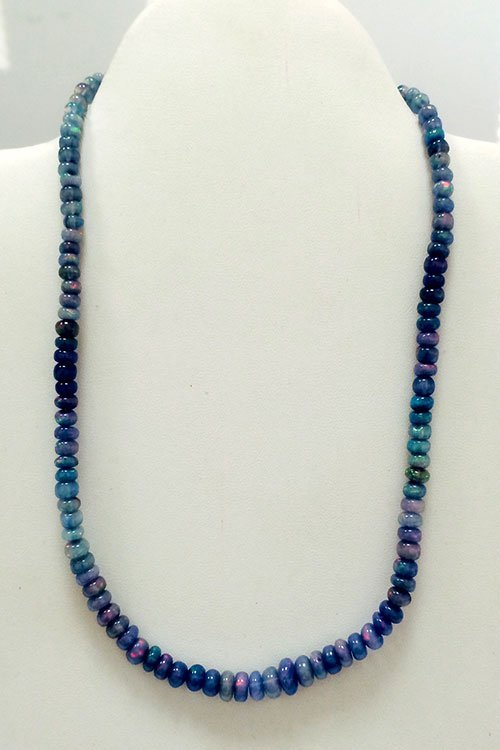 75.57 carat Opal Smooth Rondelle Fire Beaded Necklace