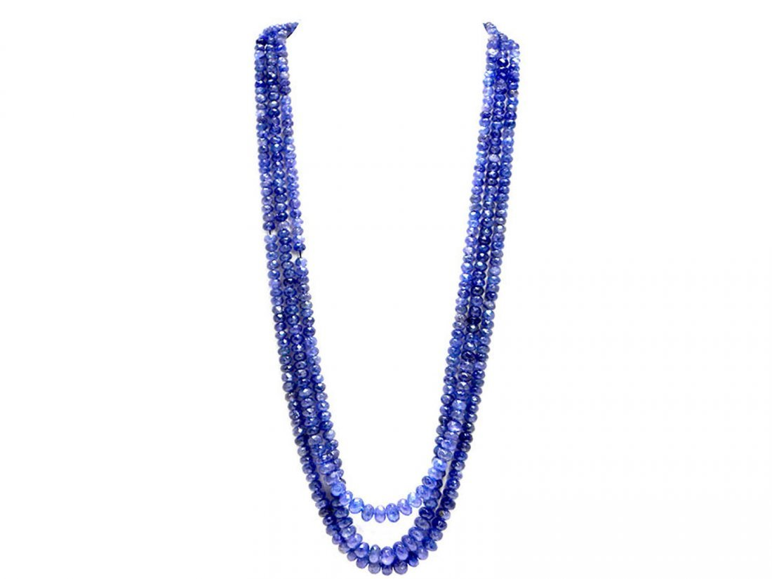 Tanzanite Beaded Necklace Rope 274.00ct or over