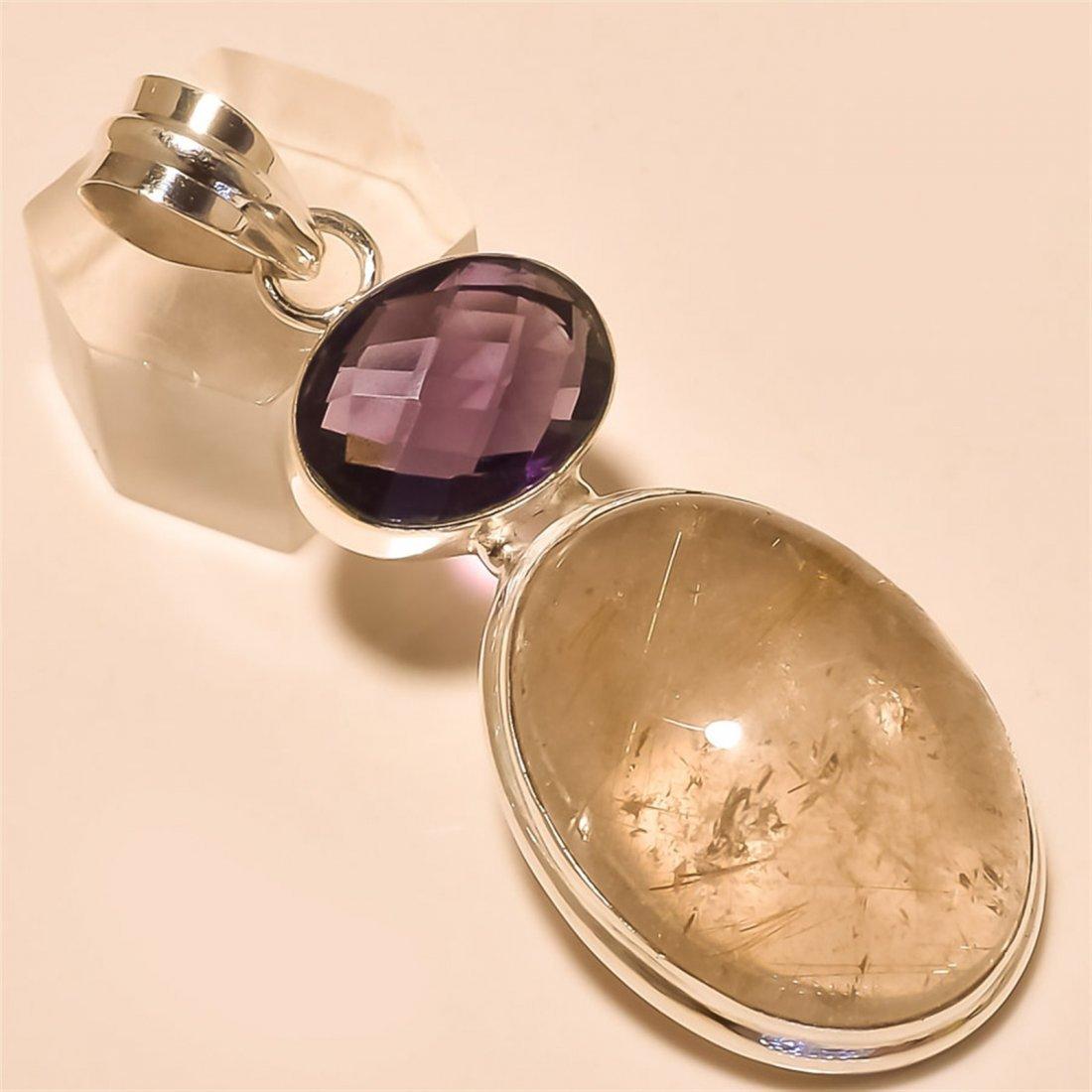 Golden Rutile /Amethyst Pendant Solid Sterling Silver