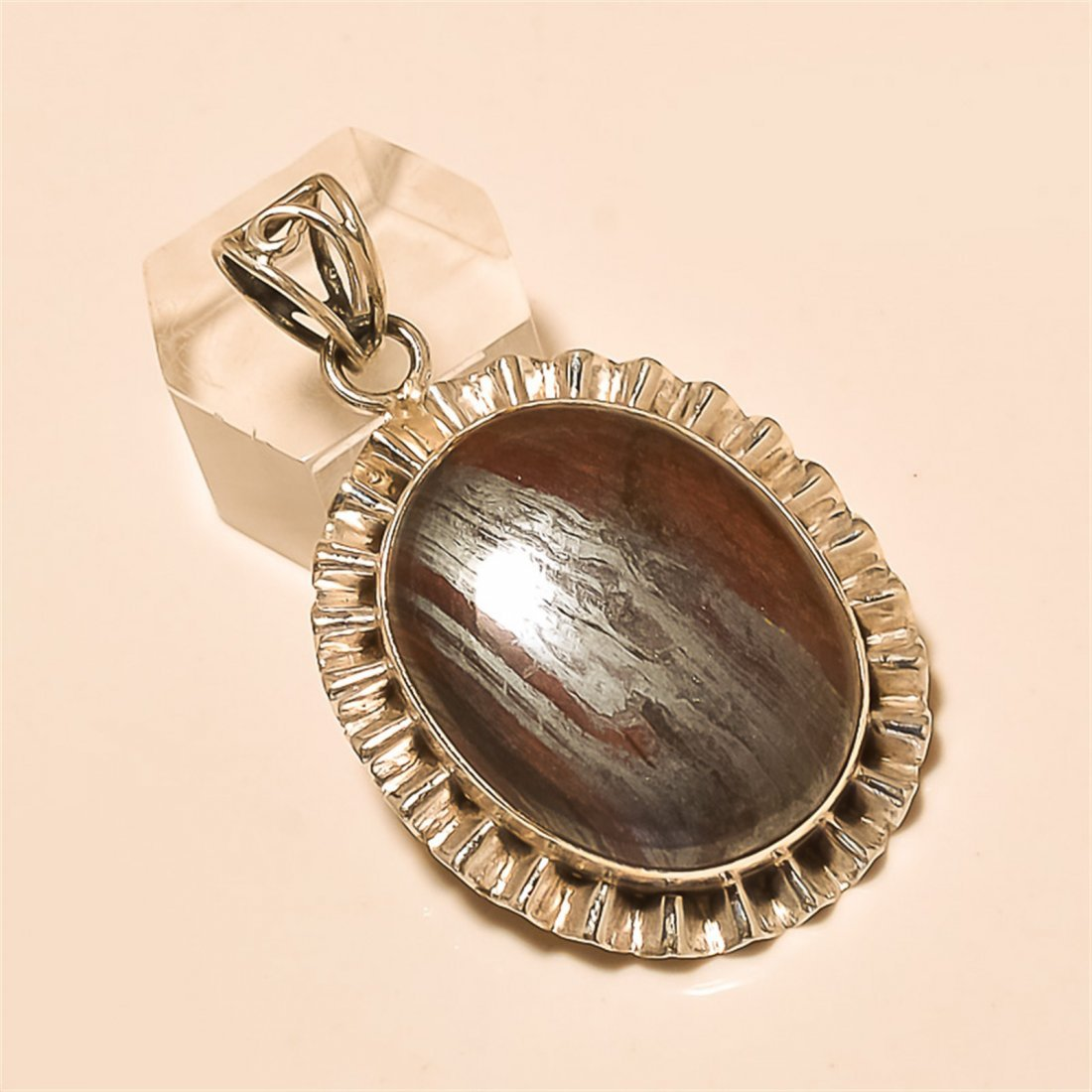 Iron Tiger Eye Pendant Solid Sterling Silver