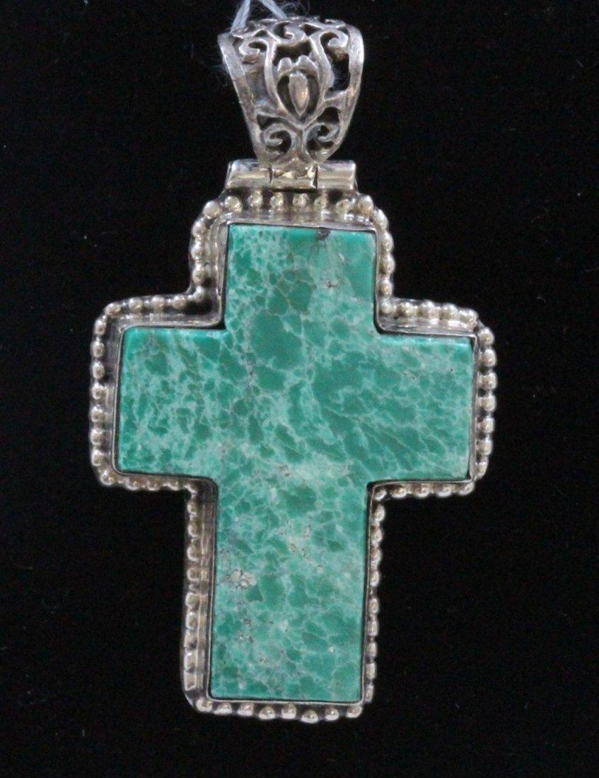 Sterling Silver .925 Turquoise Cross Pendant 14.78Gram
