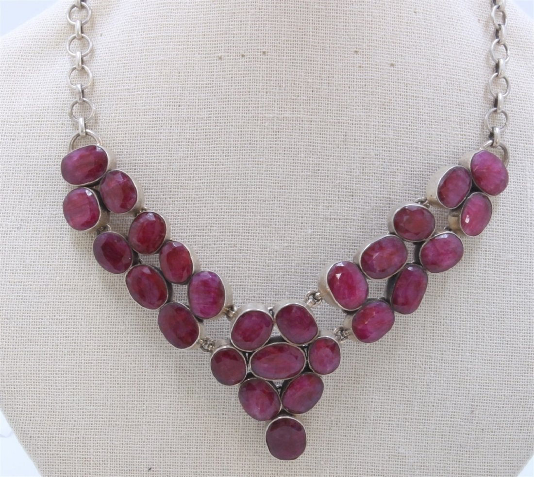 Sterling Silver .925  Necklace With Ruby   77.26Gram
