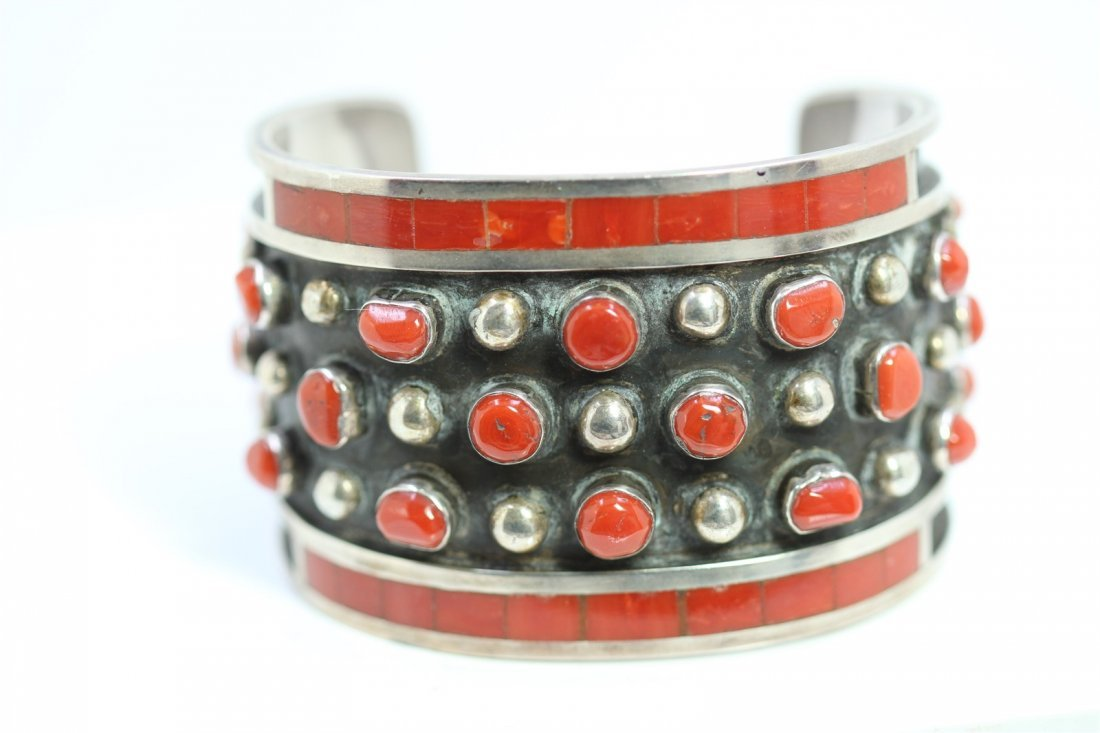 Sterling Silver .925 Red Coral Cuff Bangle 78.66 Gram