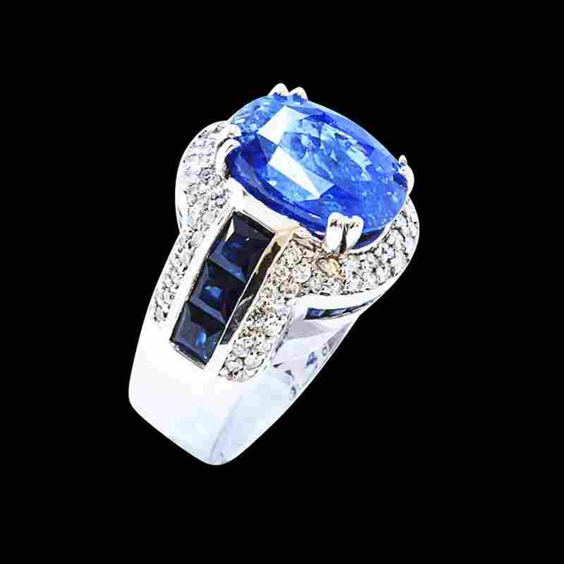 GIA 10.04CT NATURAL CEYLON BLUE SAPPHIRE 14K WHITE GOLD