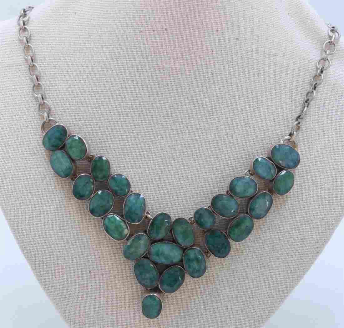 Sterling Silver .925 Emerald Beryl Necklace 89.53 gram