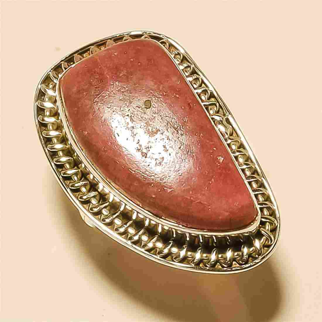 Rhodonite RING Solid Sterling Silver