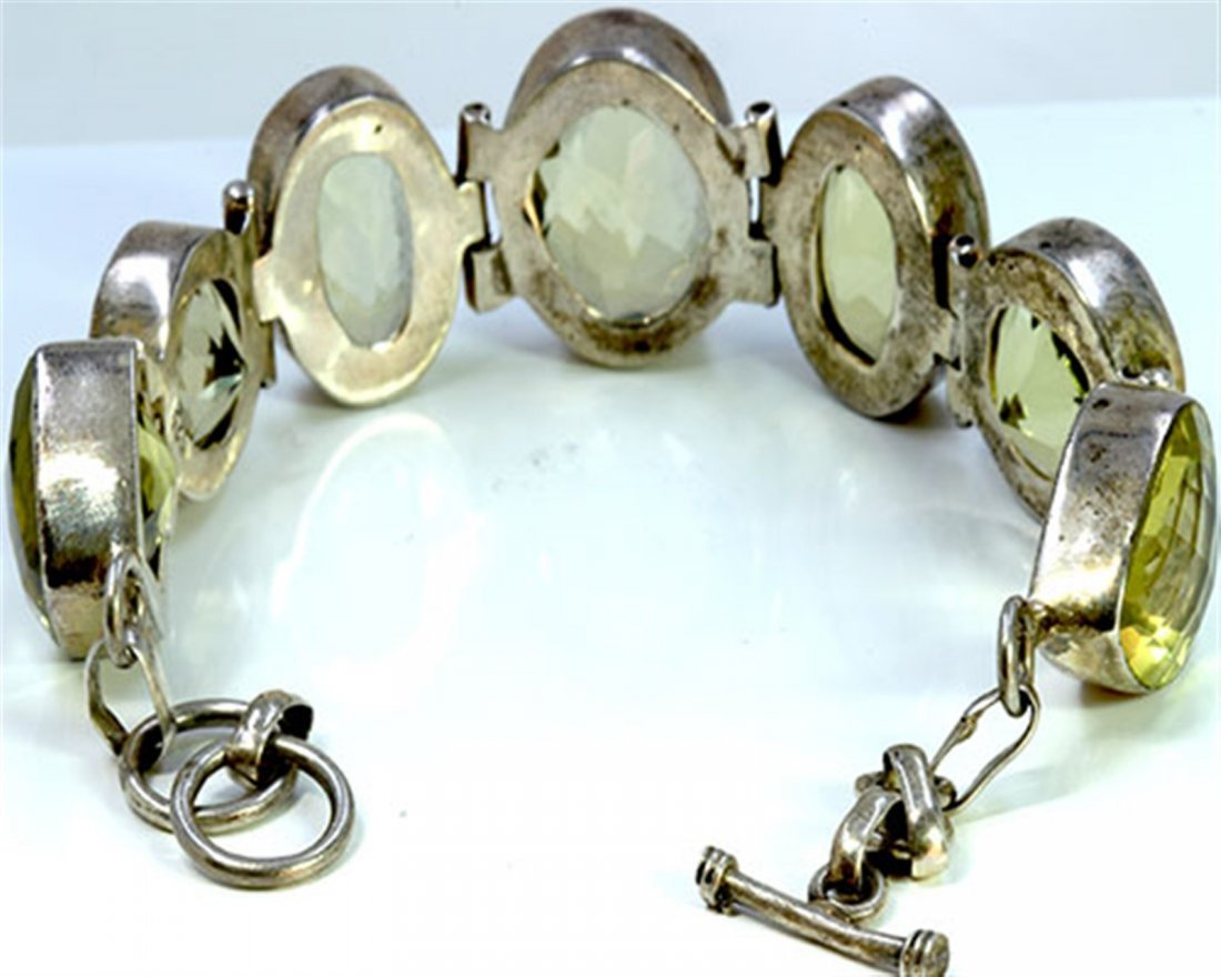 Sterling Silver .925 with light green stone bracelet
