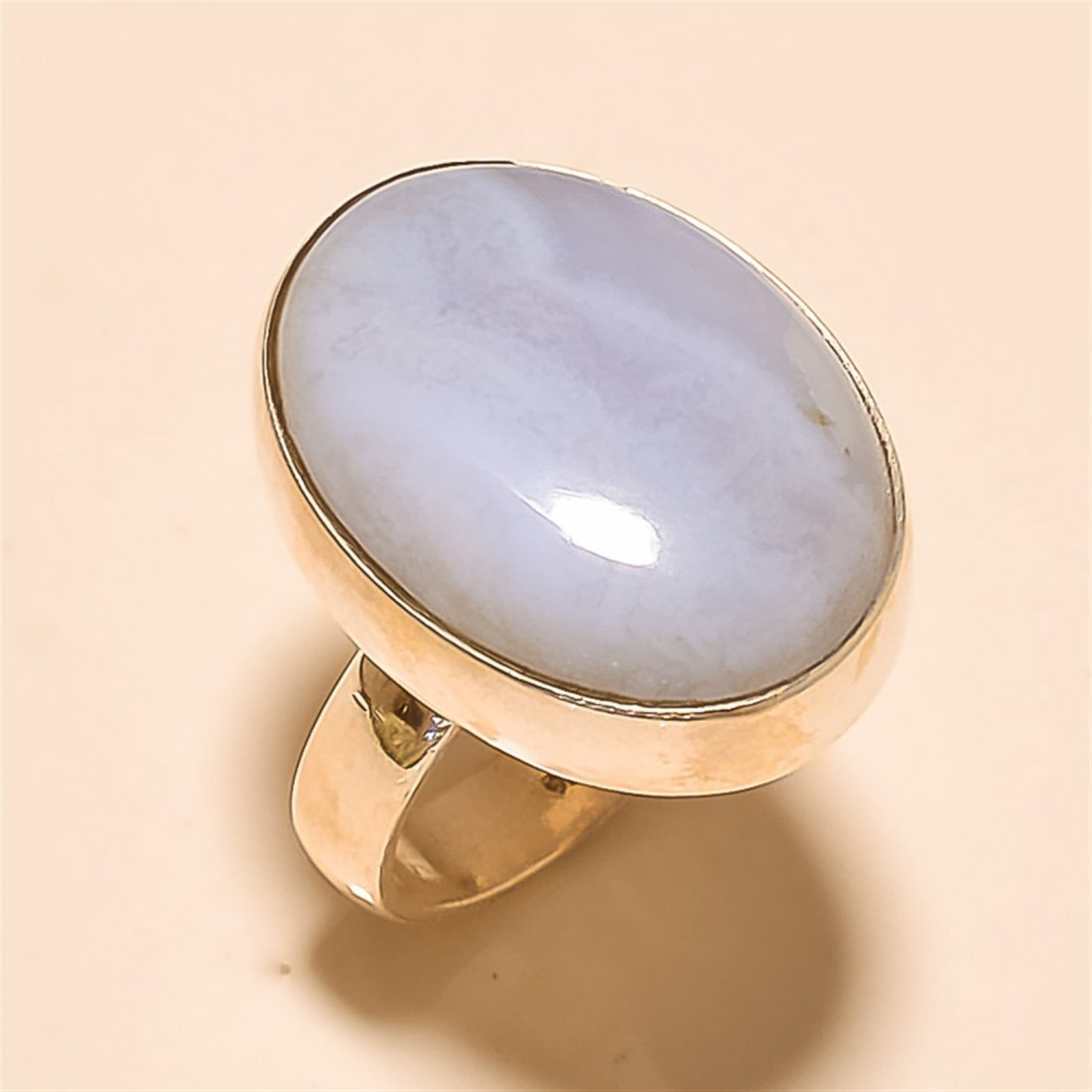 Blue Lace Agate RING Solid Sterling Silver