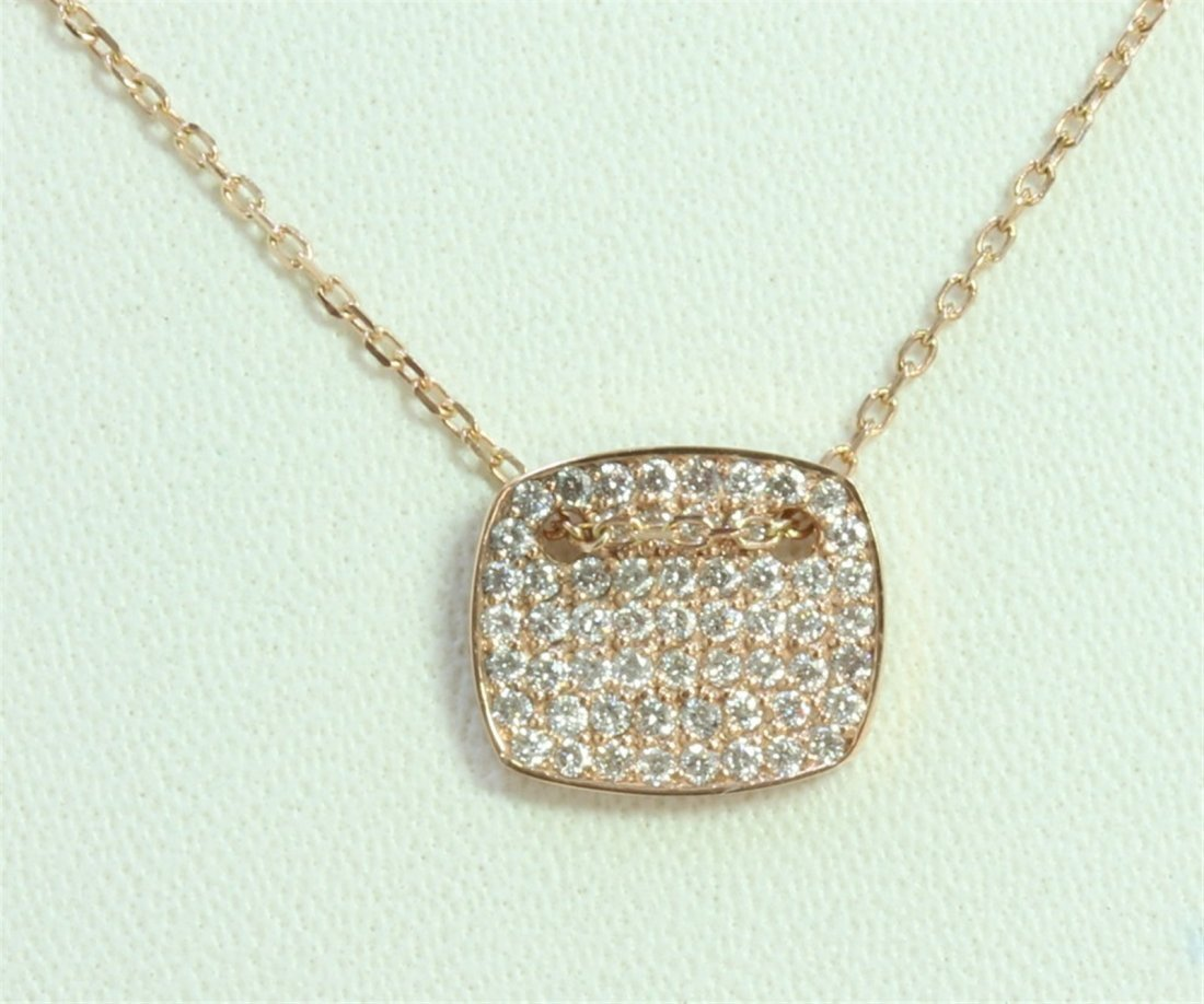 14K ROSE GOLD PENDANT WITH CHAIN 2.5g/Diamond 0.37ct