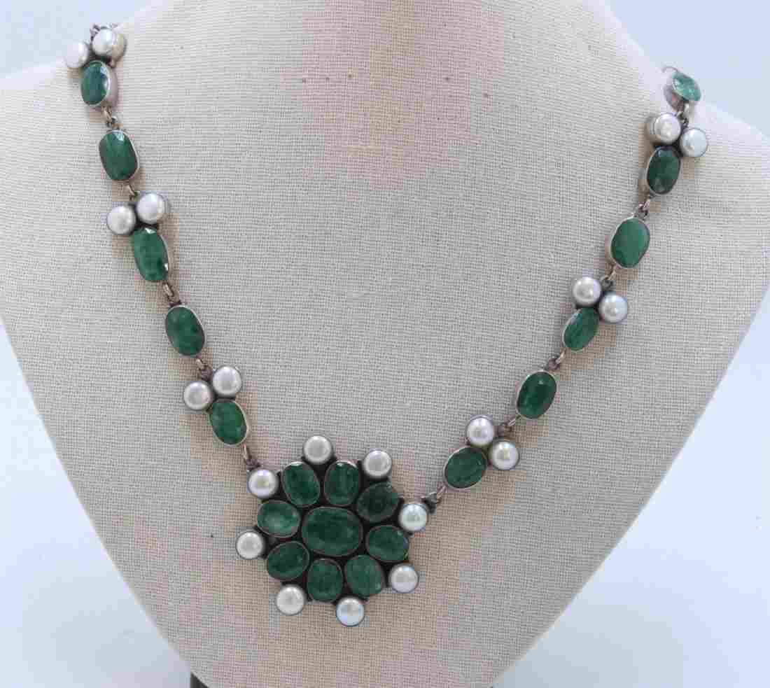 Sterling Silver .925 Emerald Beryl & Pearl Necklace 66