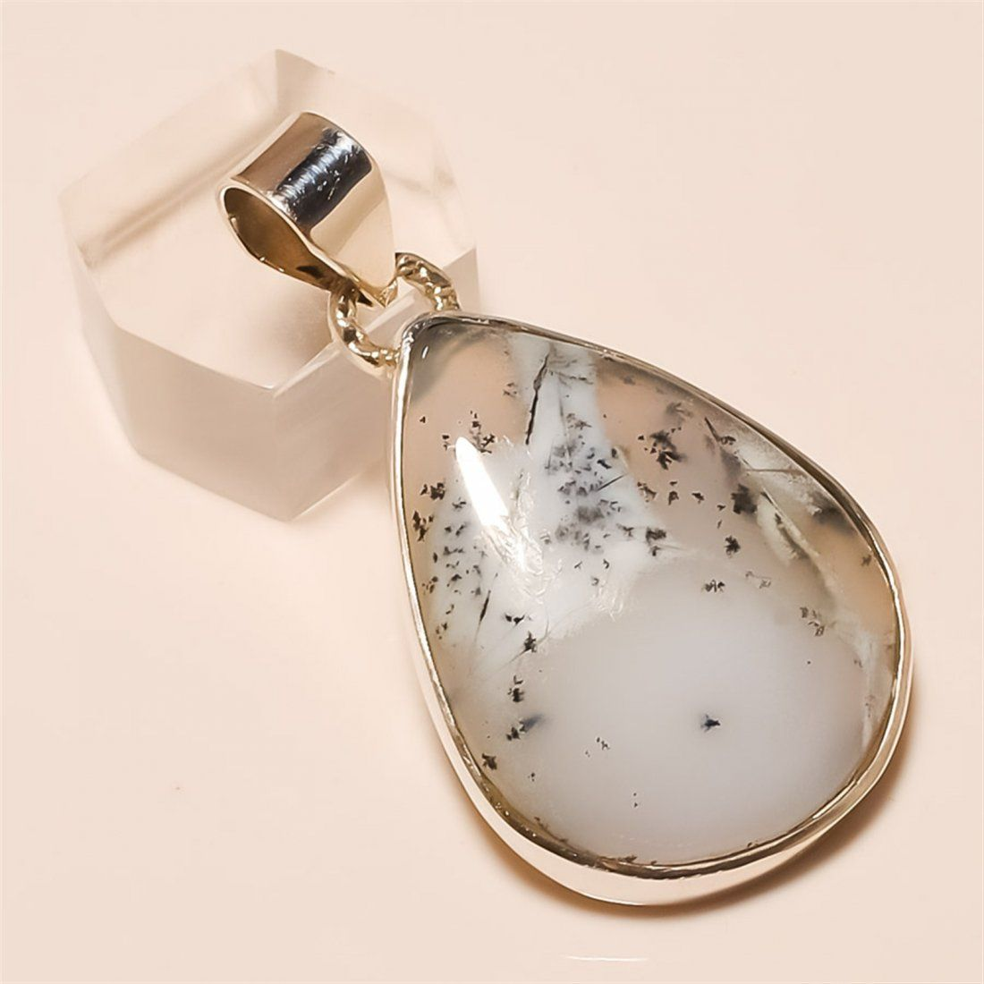 Dendrite Opal Pendant Solid Sterling Silver