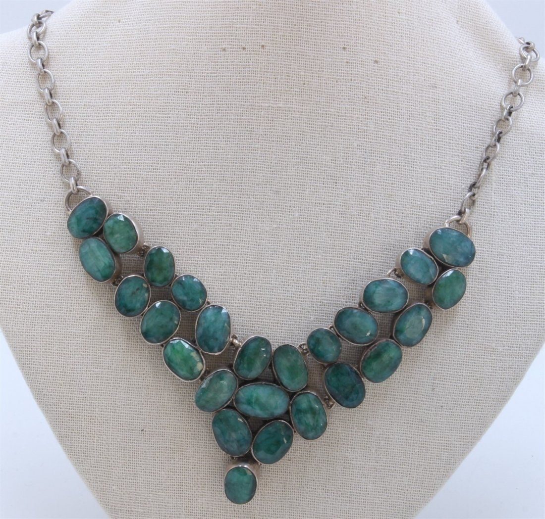 Sterling Silver .925 Emerald Beryl Necklace 89.53 gram