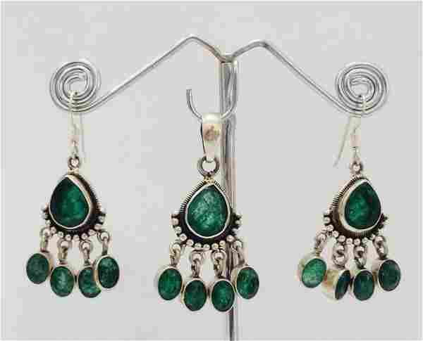 Sterling Silver .925 Emerald Beryl Earring and Pendant