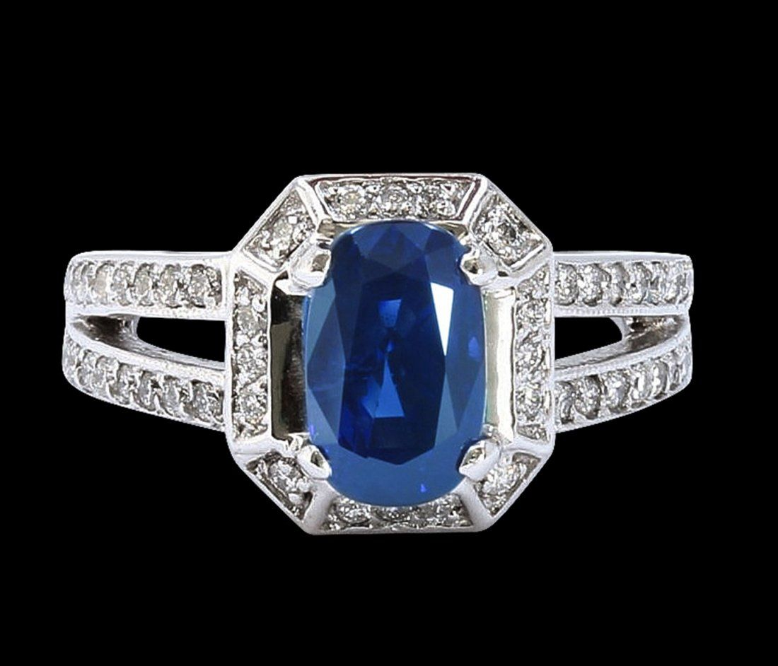 GIA 3.22CT NATURAL CEYLON BLUE SAPPHIRE 14K WHITE GOLD