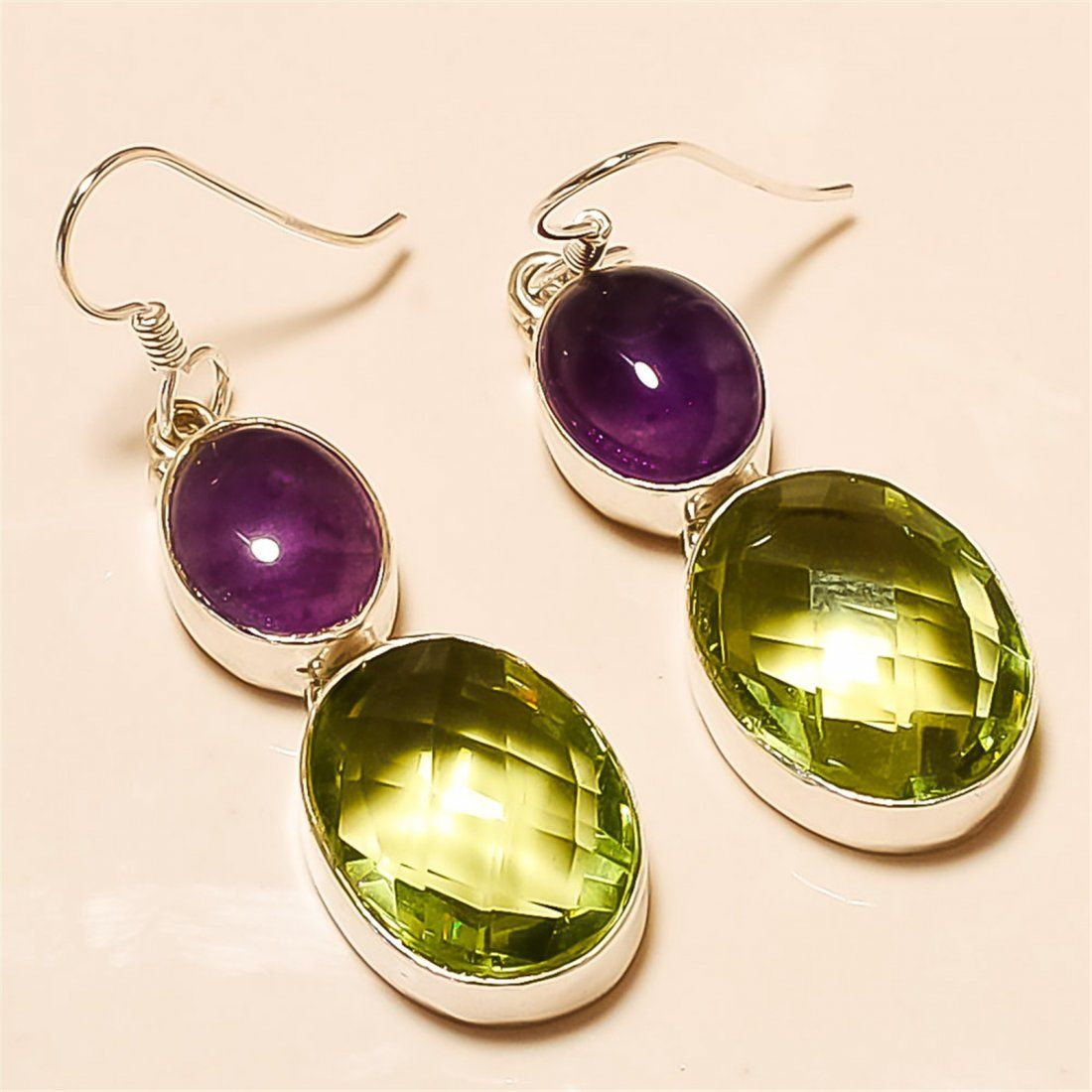 Green Amethyst/Amethyst Earring Solid Sterling Silver