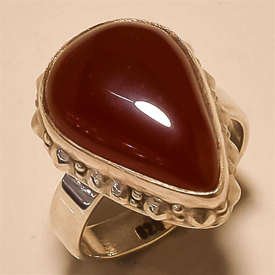 Red Onyx RING Solid Sterling Silver