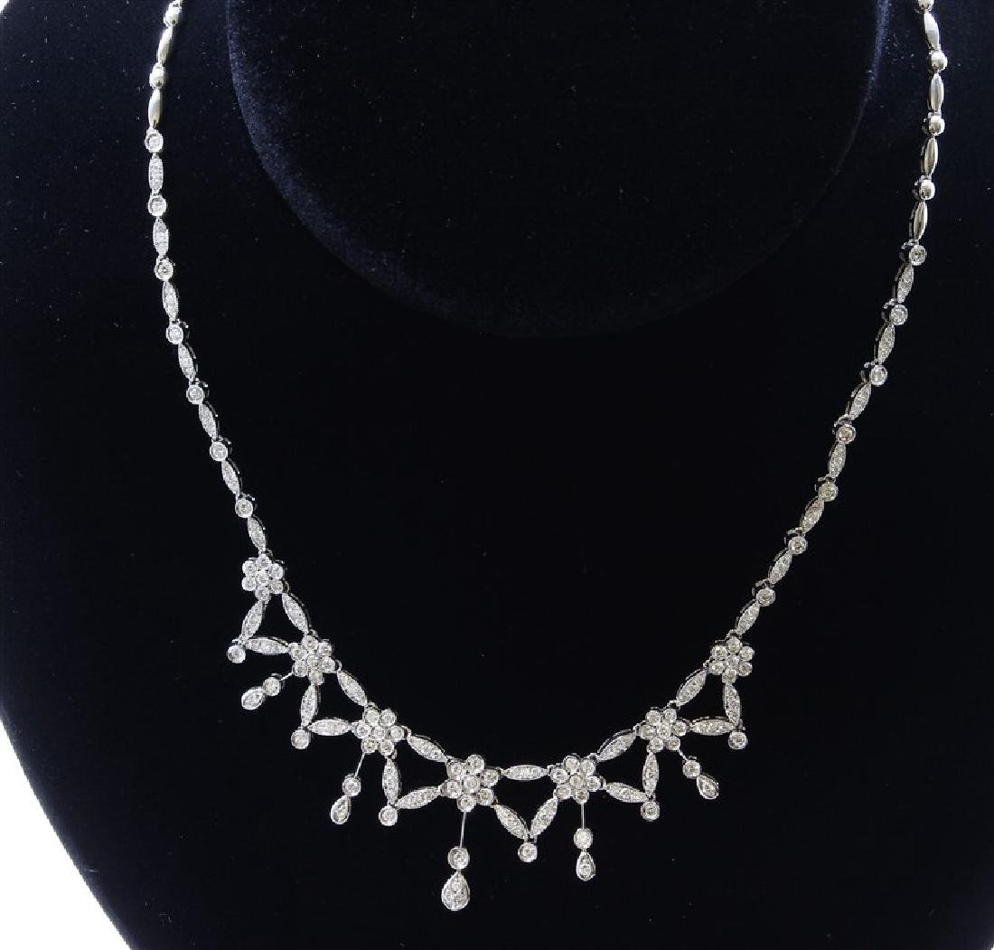 18K White Gold Necklace/Diamond- 2.85ct/Gold- 23 Grams