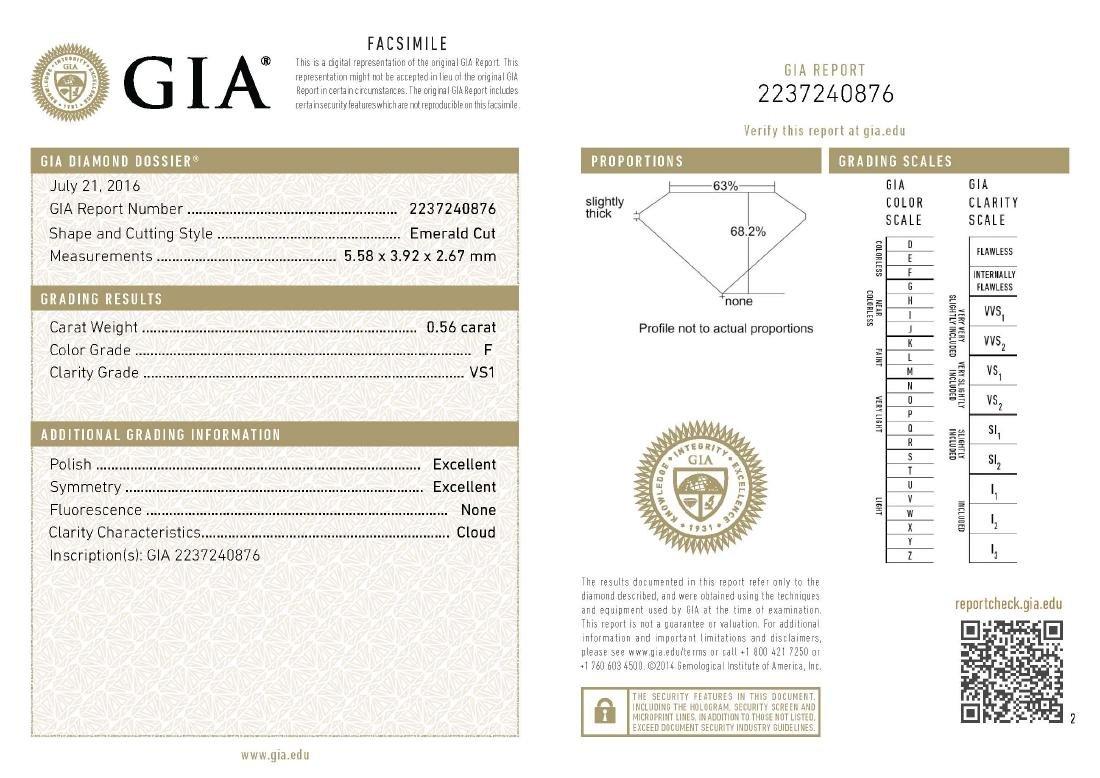GIA/Emerald/F/VS1/0.56Ct