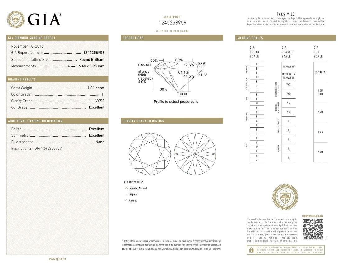 GIA/Round/H/VVS2/1.01Ct