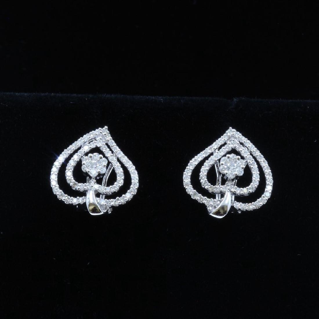 18k White Gold And Diamond Earring Round Shape Diamond-