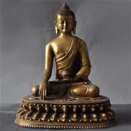Tibet Buddhism Bronze Gilt Buddha
