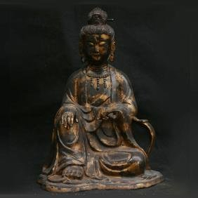 Antique China Bronze Gilt Seat Guan Yin