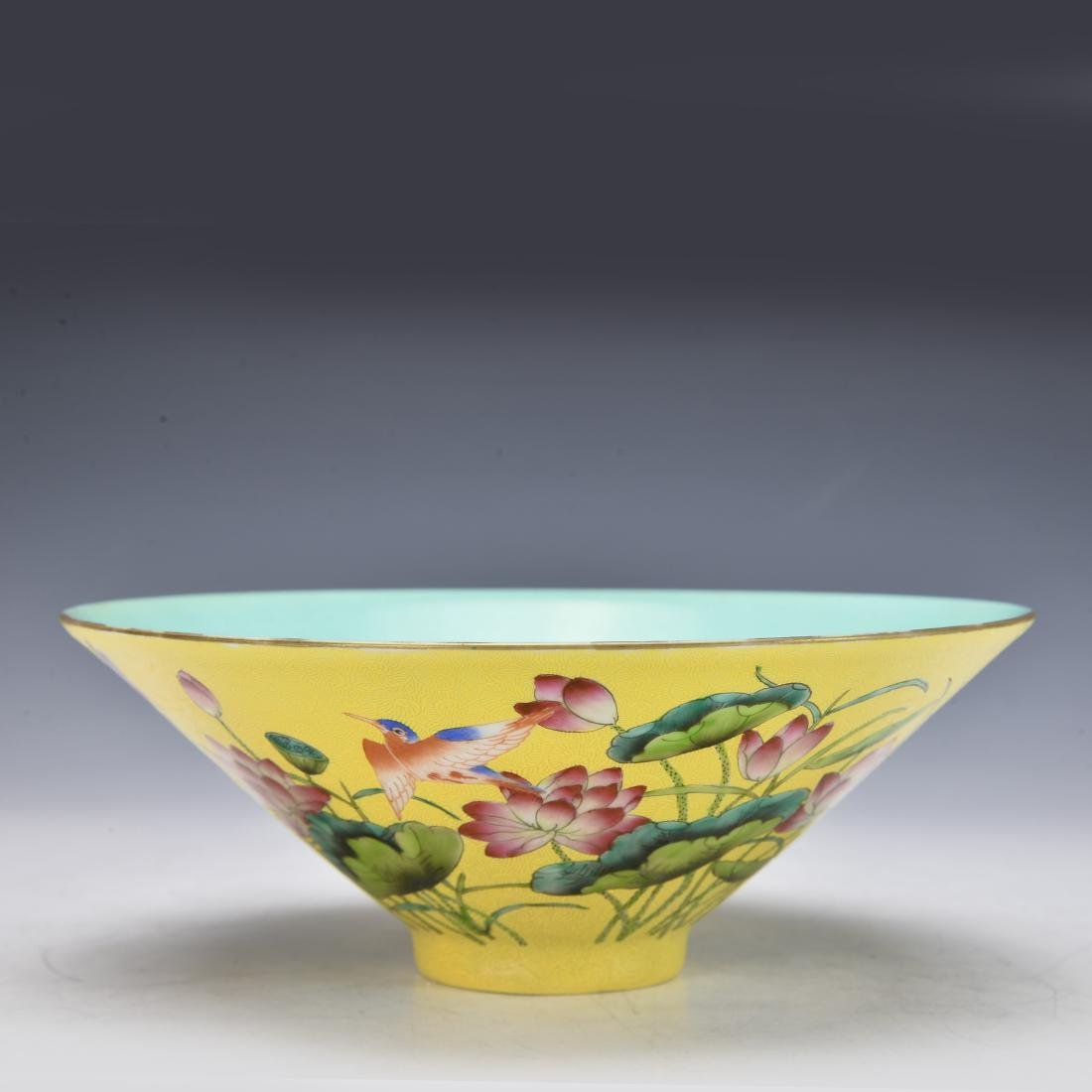 Chinese Yellow Ground Famile Rose Bowl