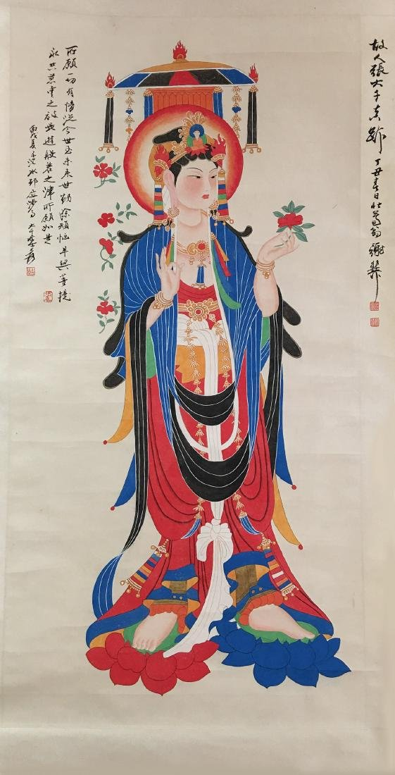 Chinese Scroll Painting of GuanYin Figure Signed by