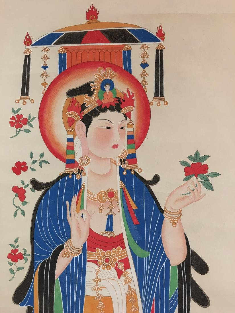 Chinese Scroll Painting of GuanYin Figure Signed by - 2