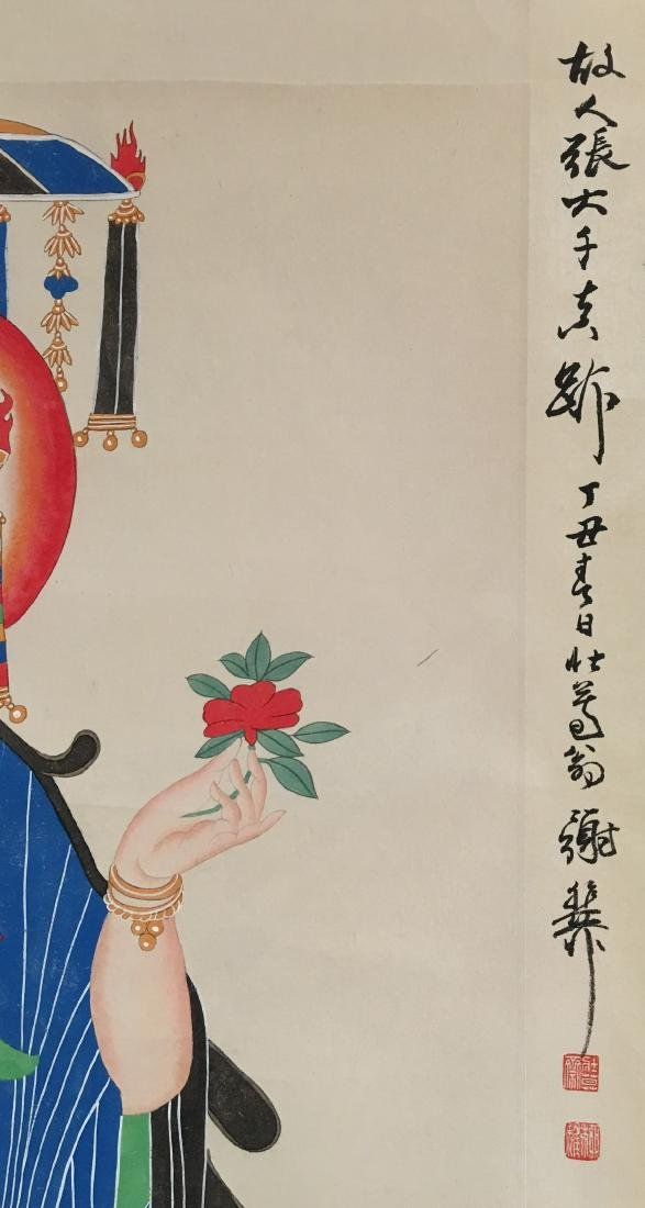 Chinese Scroll Painting of GuanYin Figure Signed by - 4