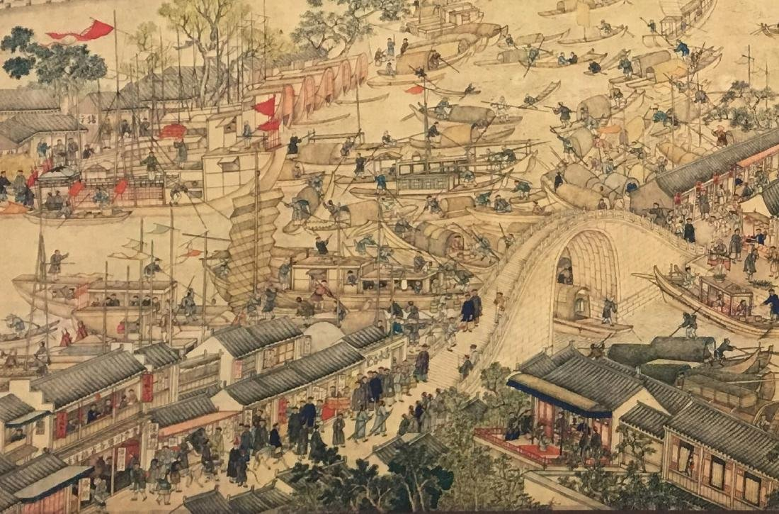 Xu Yang, Chinese Scroll Painting Of Prosperous Suzhou, - 2