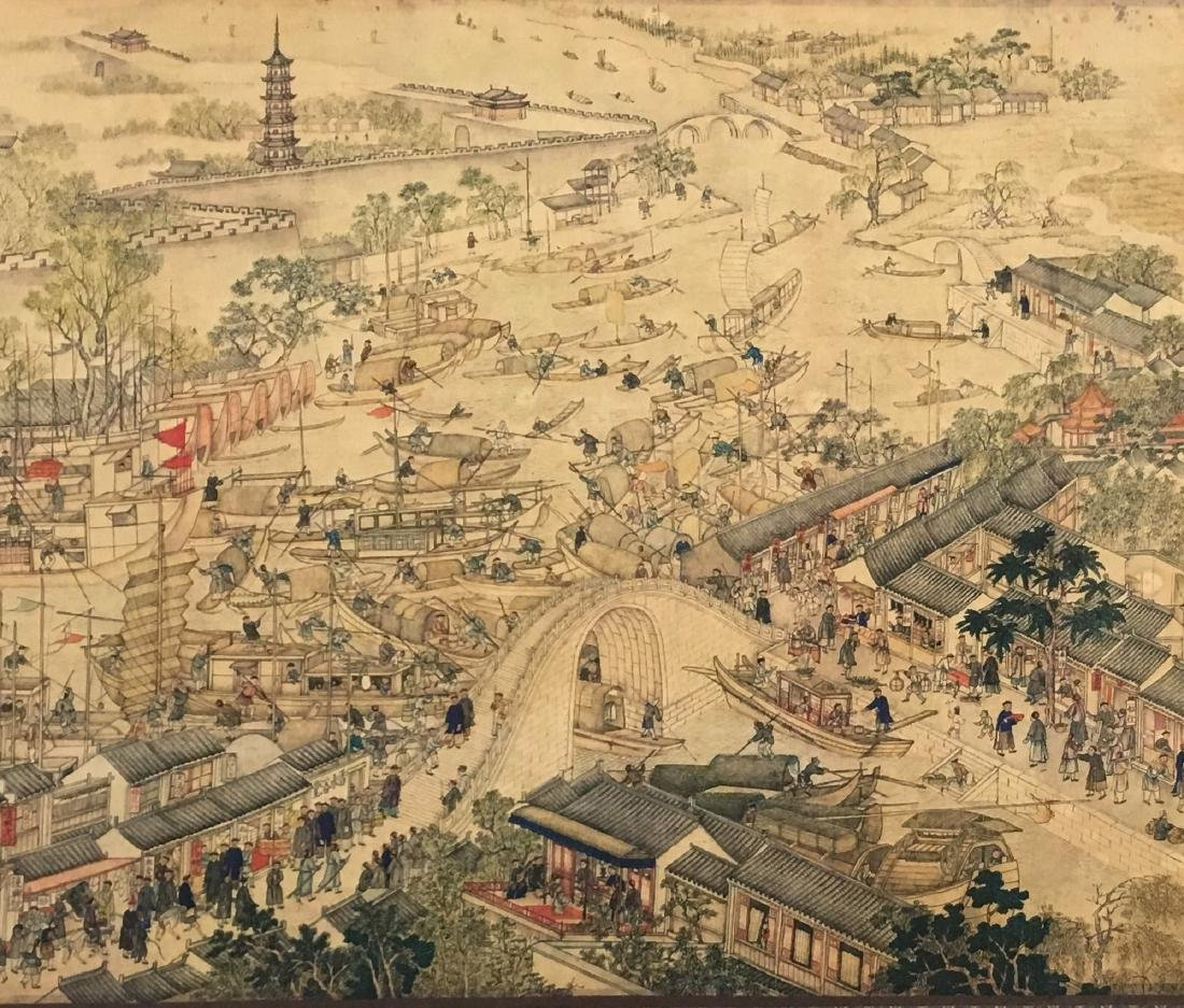 Xu Yang, Chinese Scroll Painting Of Prosperous Suzhou, - 3