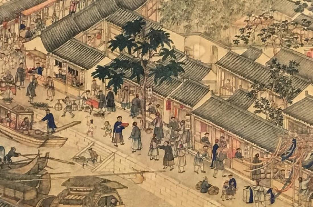 Xu Yang, Chinese Scroll Painting Of Prosperous Suzhou, - 4